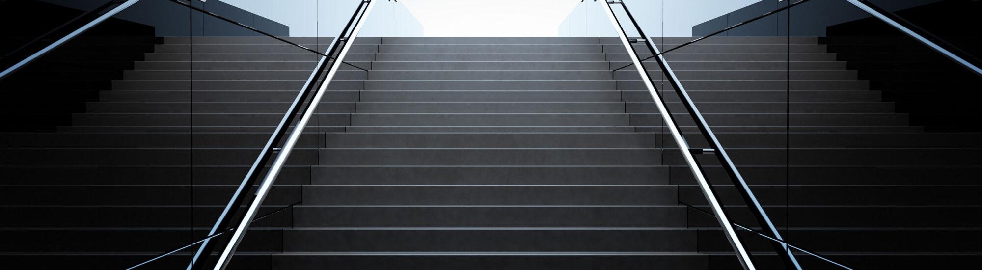 Empty black stairs in pedestrian subway. 3D Render